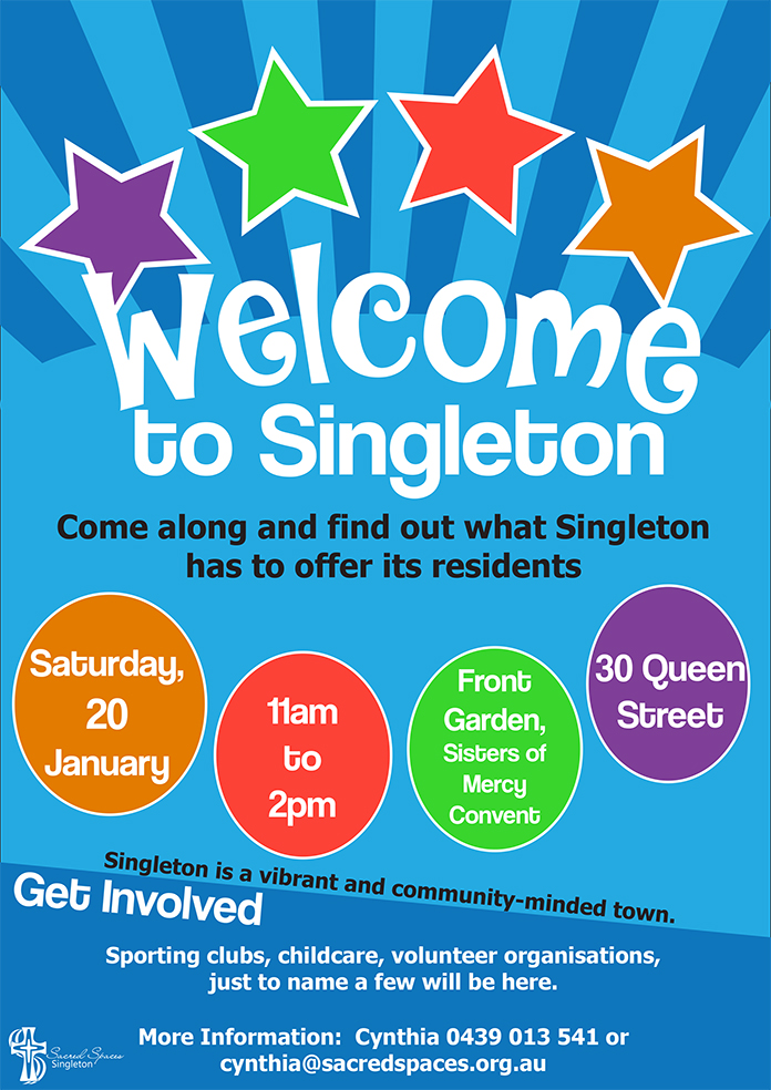 Welcome to Singleton information day at Sacred Spaces 20 Jan 2018