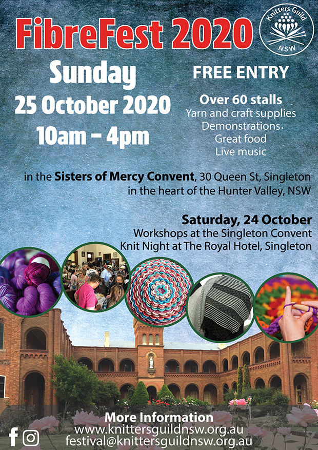 Poster advertising Fibrefest 2020 at Sacred Spaces Singleton